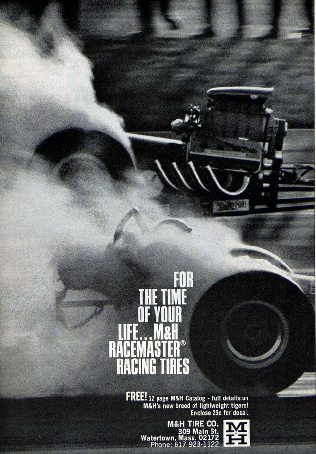 1960's advertisement for M&H Tires - Marvin Rifchin - 2003 New England Hot Rod Hall Of Fame Inductee