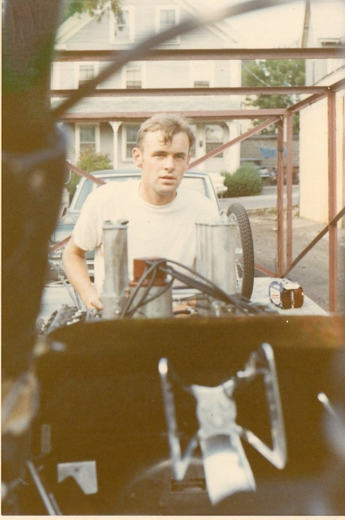 Jim Mahan at the Edmund St. garagepreps The Hard Guys A/FD for a meet at NED in 1969
