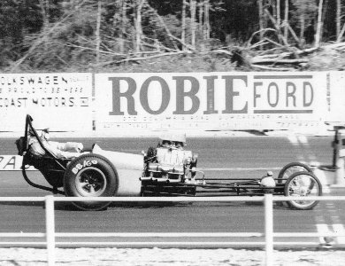 Jim Mahan heading for the starting line after being push startedin his first dragster in 1967.
