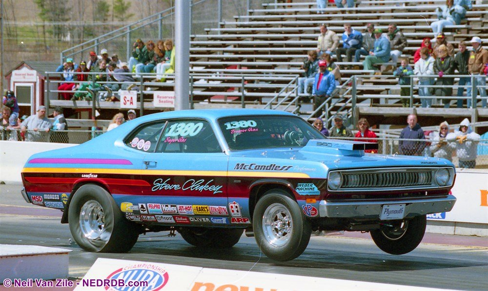Steve Clukey 1973 Plymouth Duster in 1995 - 2020 New England Hot Rod Of Fame Inductee