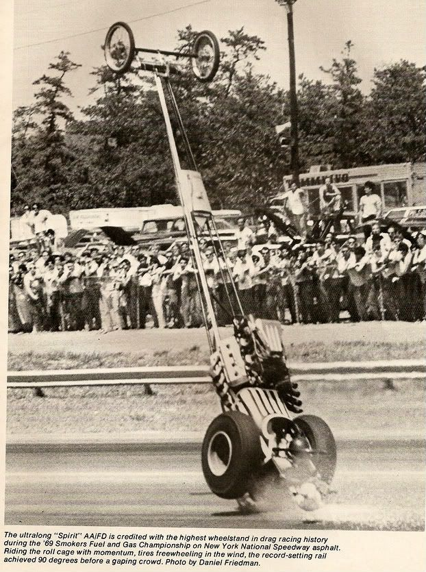 """Paul """"Motor"""" Burns """"Spirit of '76"""" Top Fuel Dragster goes vertical at New York National Speedway"""